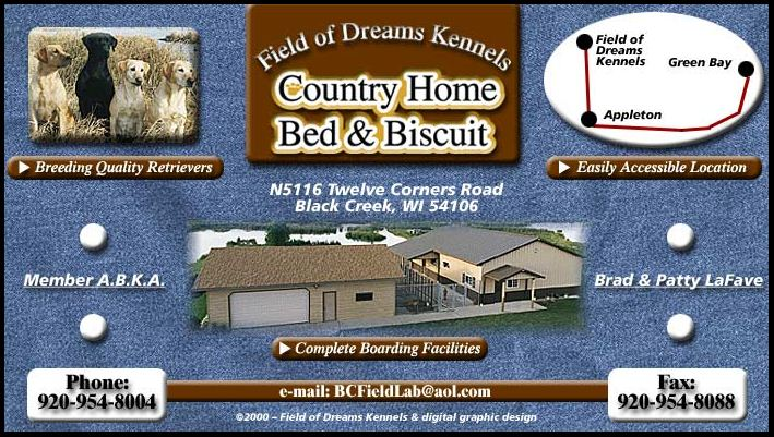Field of Dreams Kennels, Country Home Bed & Biscuit, Black